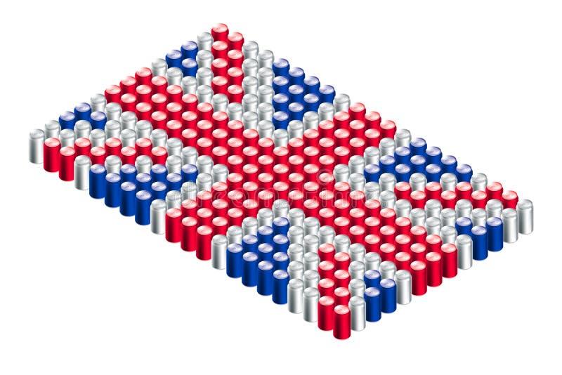 3D Isometric beverage can in row, United Kingdom national flag shape concept design illustration stock illustration