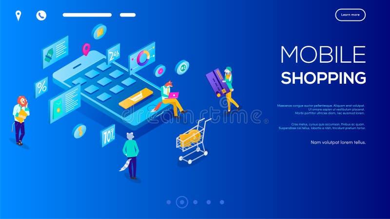 3d Isometric charakter kupuje online na błękitnym fiołkowym tle Użytkownicy z pastylkami i wózkiem na zakupy wokoło handlu elektr ilustracja wektor