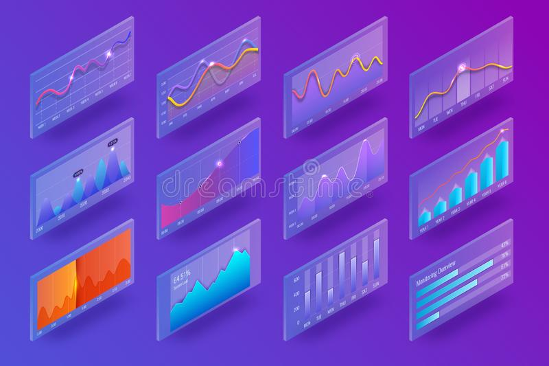 3d isometric chart and graphics. Infographic elements. Analysis indicators, statistics diagram, business charts. Hi tech. 3d isometric chart and graphics royalty free illustration
