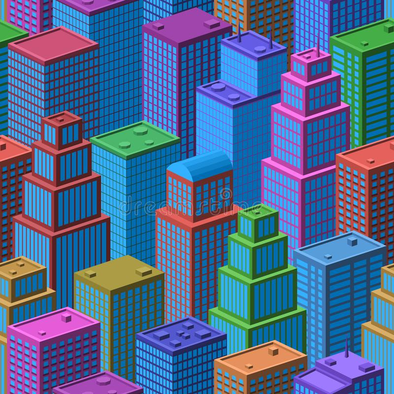 3D Isometric City, Seamless Background. 3d Isometric Three-Dimensional View of Megapolis City. Seamless Urban Landscape, Tile Background with Colorful Cartoon stock illustration