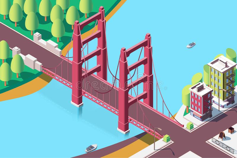 3d isometric classic new york bridge with urban landscape. vector illustration