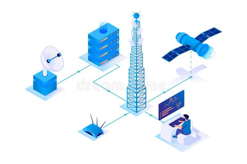 3d isometric communication network with satellite, wireless, servers. stock illustration