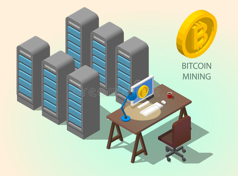 3d isometric computer online mining bitcoin concept. Golden coin Bitcoin symbol royalty free illustration