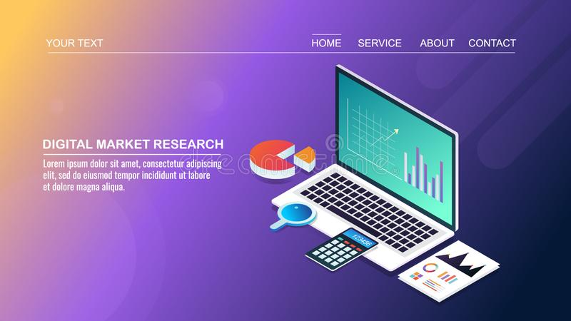 Market research, data and information analysis, business technology, strategy development, isometric design concept. vector illustration