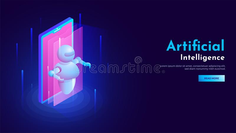 3D isometric design of smartphone with robot illustration for Ar vector illustration
