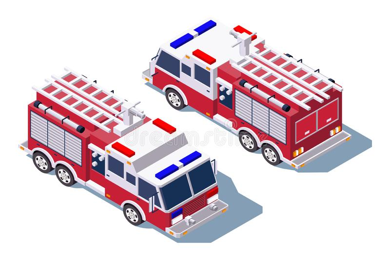 3d isometric fire truck for fire extinguishing. Isolated concept public support vehicle, professional service for firefighting. Low poly. Vector illustration vector illustration