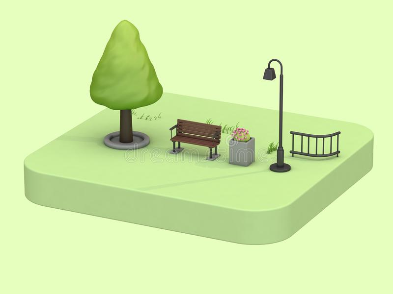 Isometric green parks summer concept with low poly tree chair lamp flowers cartoon style 3d rendering stock illustration
