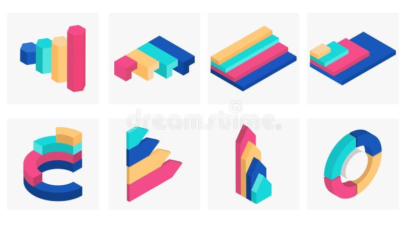 3D isometric illustration of business infographic. 3D isometric illustration of business infographic element set stock illustration
