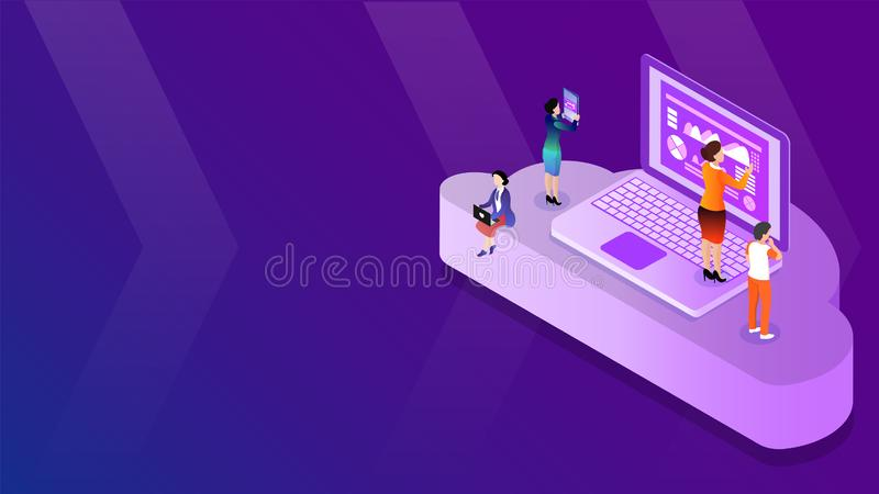 3D isometric illustration of business people maintains data from digital devices on cloud server for Cloud Storage concept based. Design vector illustration