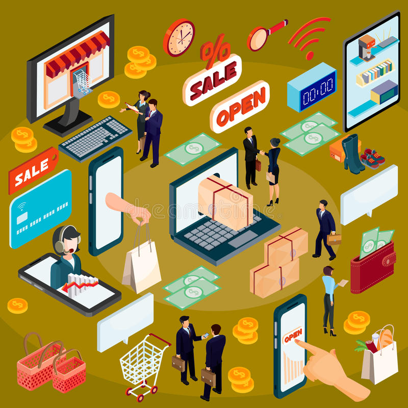 3D isometric illustration concept of e-commerce, online store. High quality online shopping services since the choice of product and its payment, completing royalty free illustration