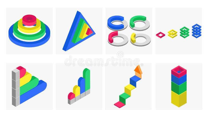 3D isometric illustration of infographic element. 3D isometric illustration of infographic element set vector illustration