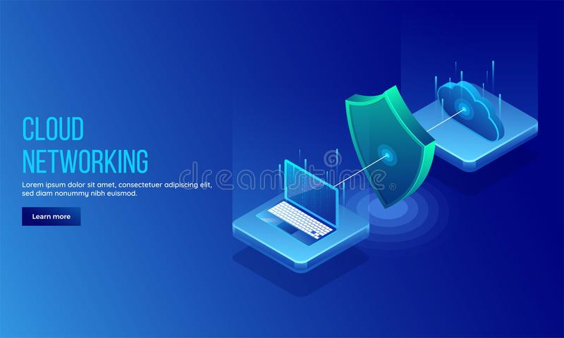 3D isometric illustration of security shield between pc and cloud server for data protection concept landing page or web template. Design stock illustration