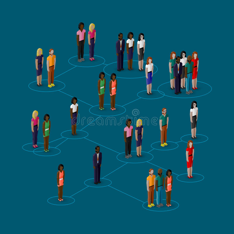 3d isometric illustration of society members with men and women. population. social network concept. Vector 3d isometric illustration of society members with men stock illustration