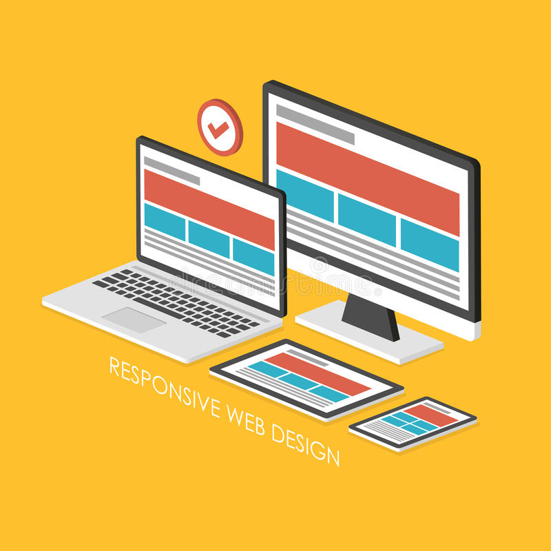 3d isometric infographic for responsive web design royalty free illustration