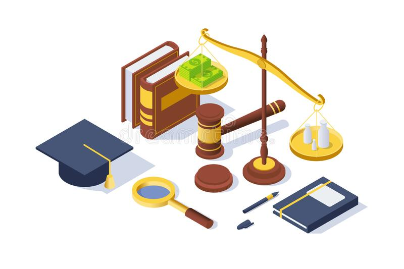 3d isometric justice equipment with hammer, pen, libra balance, book. vector illustration