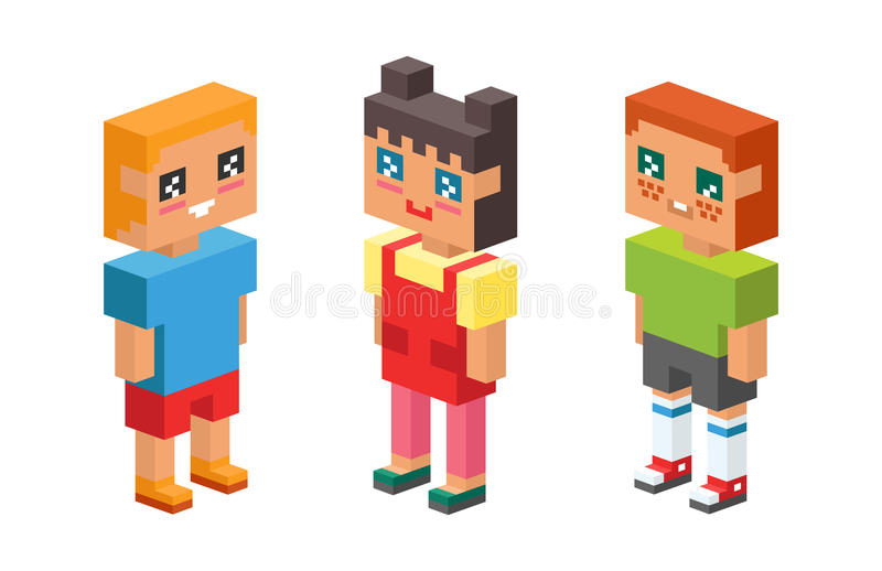 3d isometric kids children concept icons friends baby club childhood child girl boy cartoon son symbol young daughter. 3d isometric kids children concept icons stock illustration