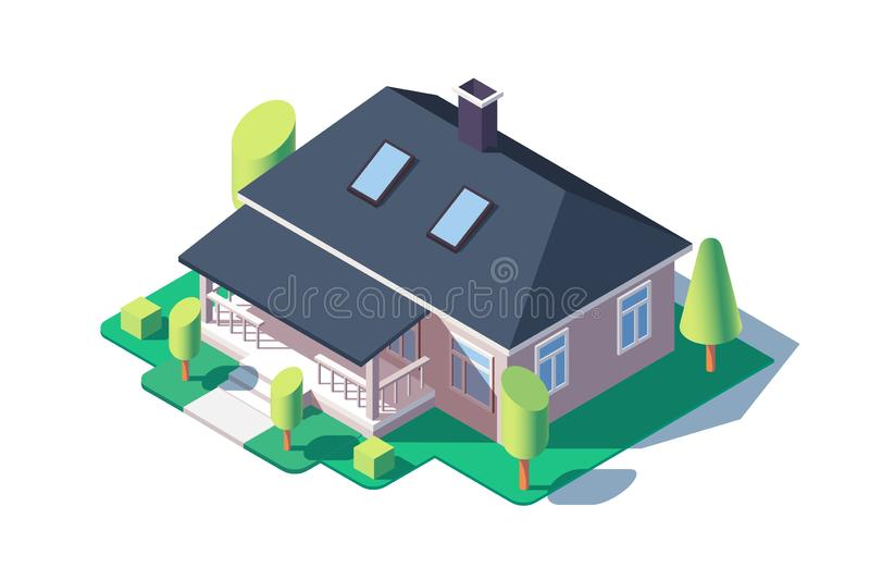 3d isometric large cozy one story house with green tree. stock illustration