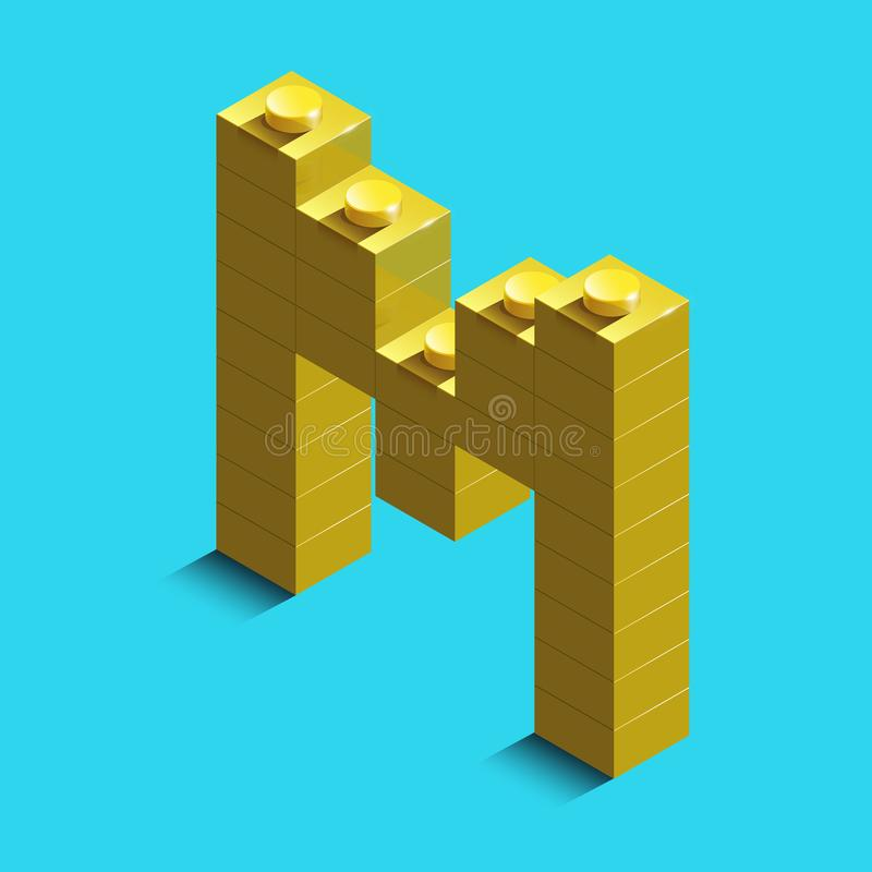 3d isometric letter M of the alphabet from lego bricks. 3d. Isometric plastic letter from the Lego blocks stock illustration