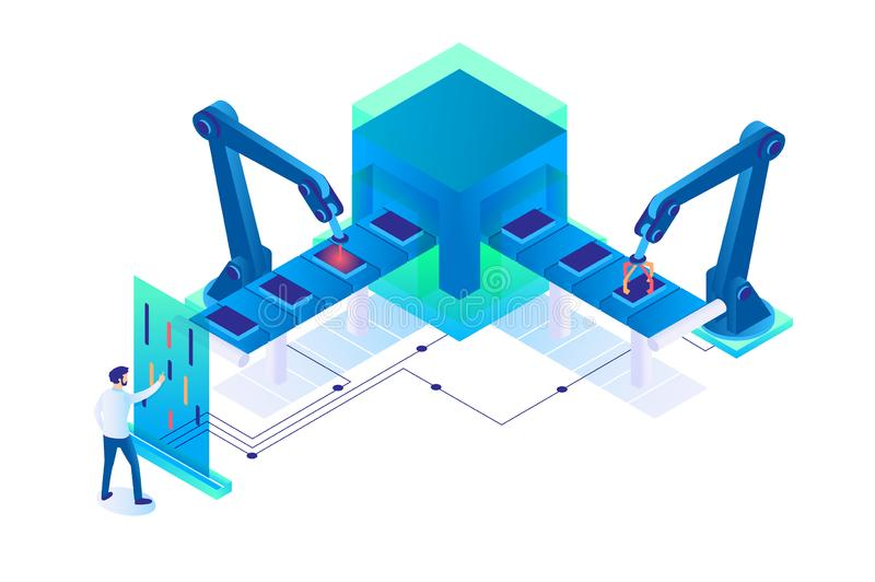3d isometric man at work with semi automatic production. vector illustration