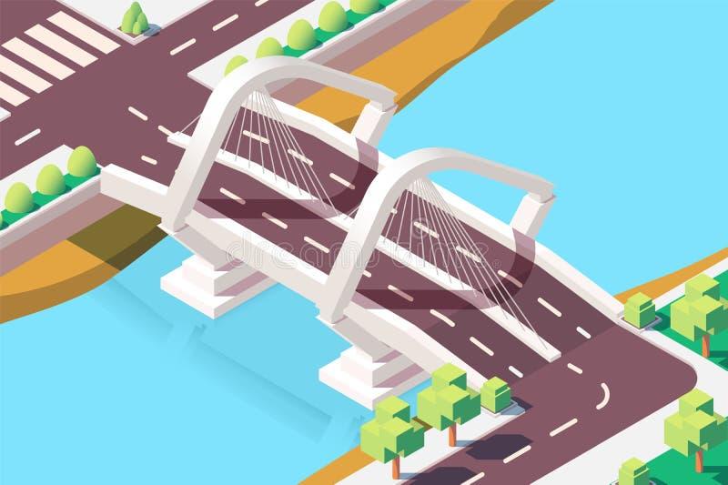 3d isometric modern bridge with urban landscape. royalty free illustration
