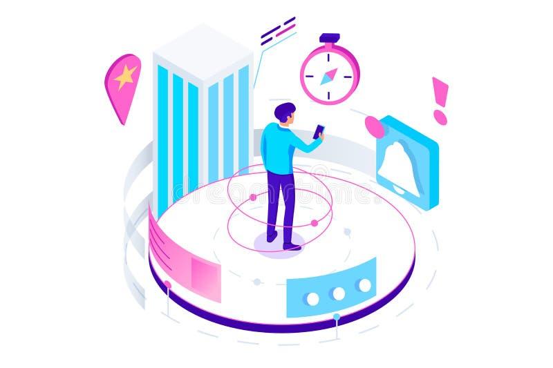 3d isometric nawigacja, powiadomienie i informacja z zegarem, ilustracji