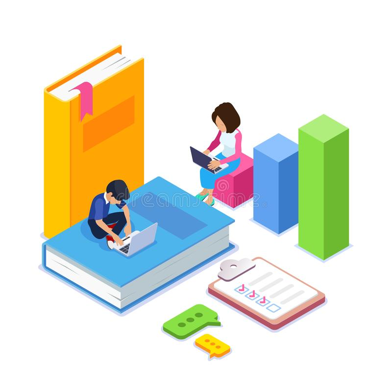 3d Isometric online learning or courses concept. Students or schoolchildren gain knowledge through the Internet using. Laptops. Big books. Can use for web vector illustration