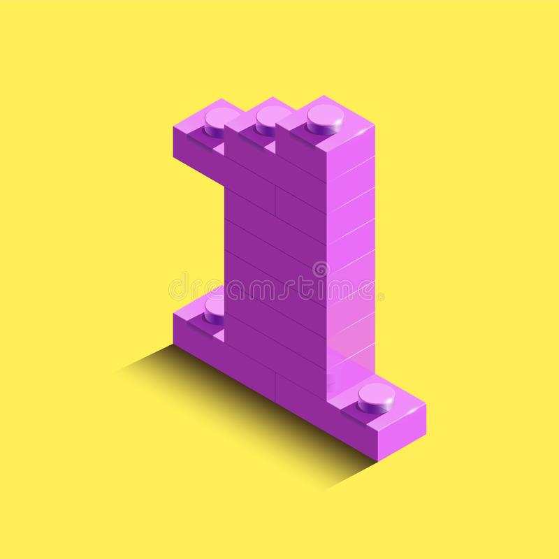 3d isometric pink number One from lego brick on yellow background. 3d number from lego bricks. Realistic number. 3d isometric pink number One from lego brick on vector illustration