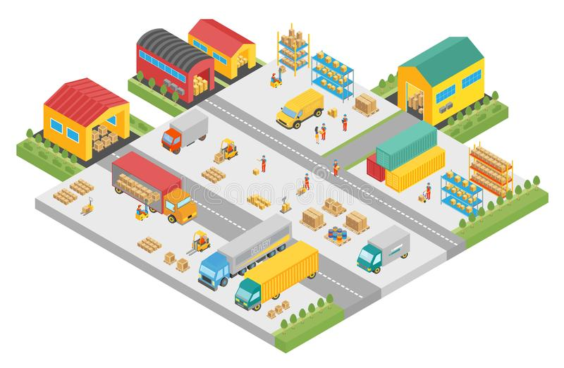 3d isometric process of the big warehouse company. Warehouse exterior buildings square, delivery business, cargo storage vector illustration