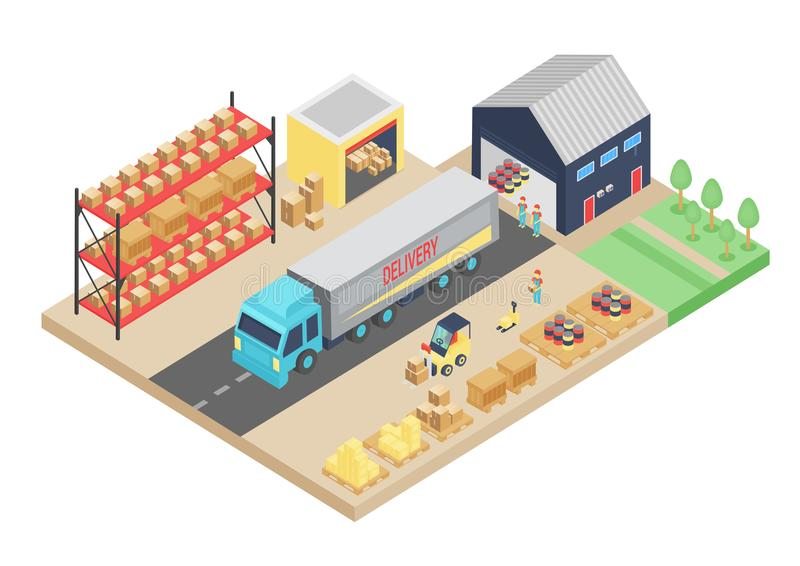 3d isometric process of the warehouse. Cargo storage vector illustration. Warehouse logistic interior, building royalty free illustration