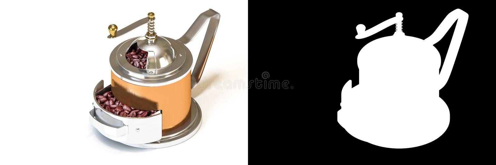3D isometric rendering of brass vintage coffee grinder with coffee beans isolated on white background with alpha channel section royalty free illustration