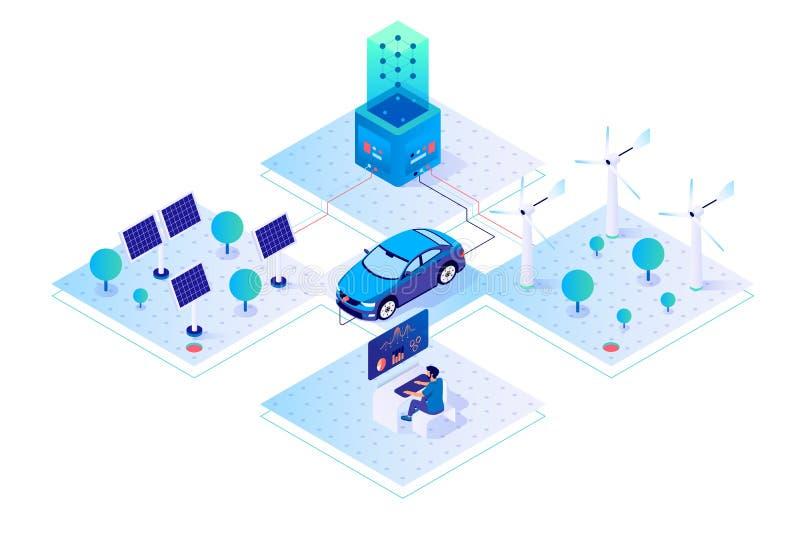 3d isometric samochód, biznesmen z zieloną energią royalty ilustracja