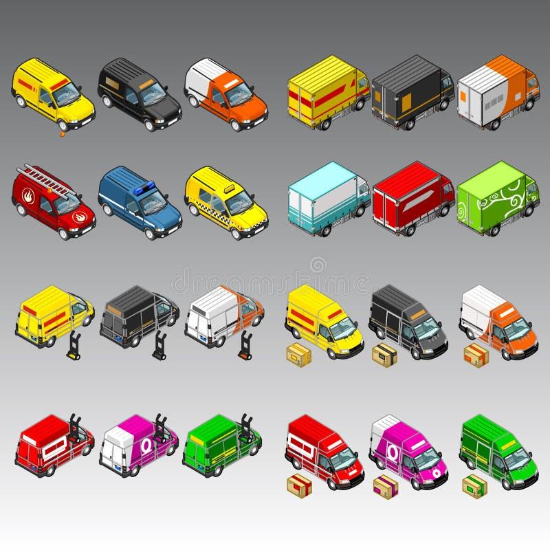 3d isometric samochody ustawiający ilustracja wektor
