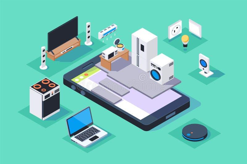 3d isometric smart appliances home on mobile phone. stock illustration