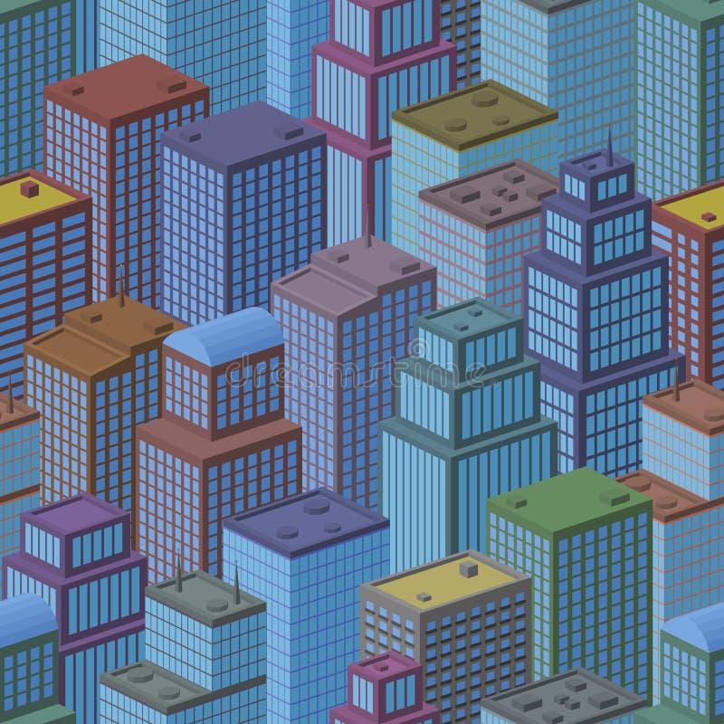 3D Isometric City, Seamless Background royalty free illustration