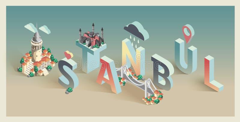 3d isometric typograficzny Istanbul ilustracja wektor