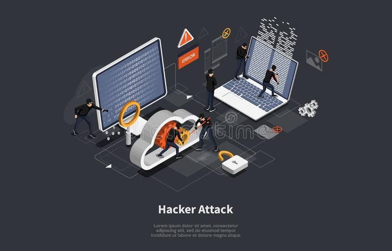 3d isometric vector illustration, Phishing scam, hacker attack, mobile security concept, data protection, cyber crime vector illustration