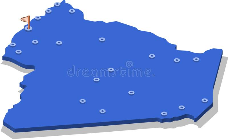 3d isometric view map of Algeria with blue surface and cities. stock illustration