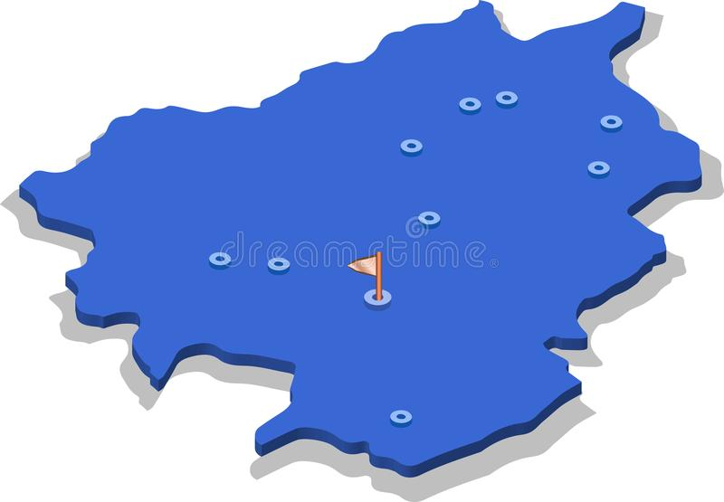 3d isometric view map of Andorra with blue surface and cities. Isolated, white background vector illustration