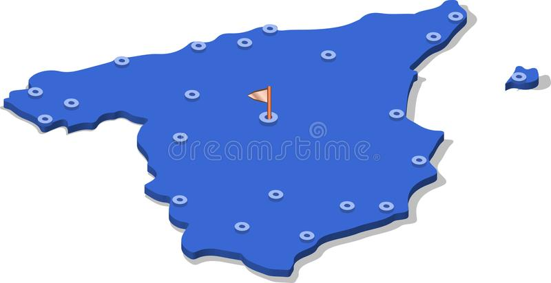 3d isometric view map of Spain with blue surface and cities. Isolated, white background vector illustration