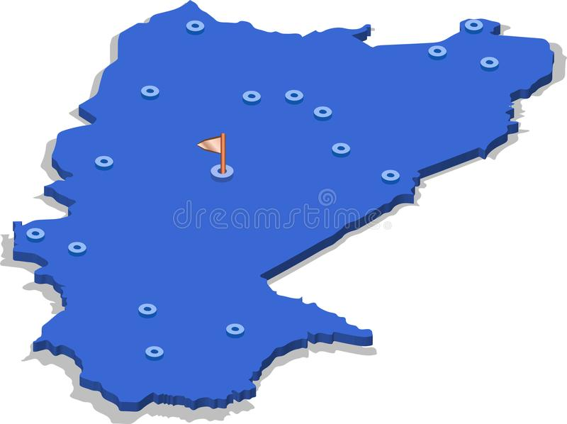 3d isometric view map of Burkina Faso with blue surface and cities. stock illustration