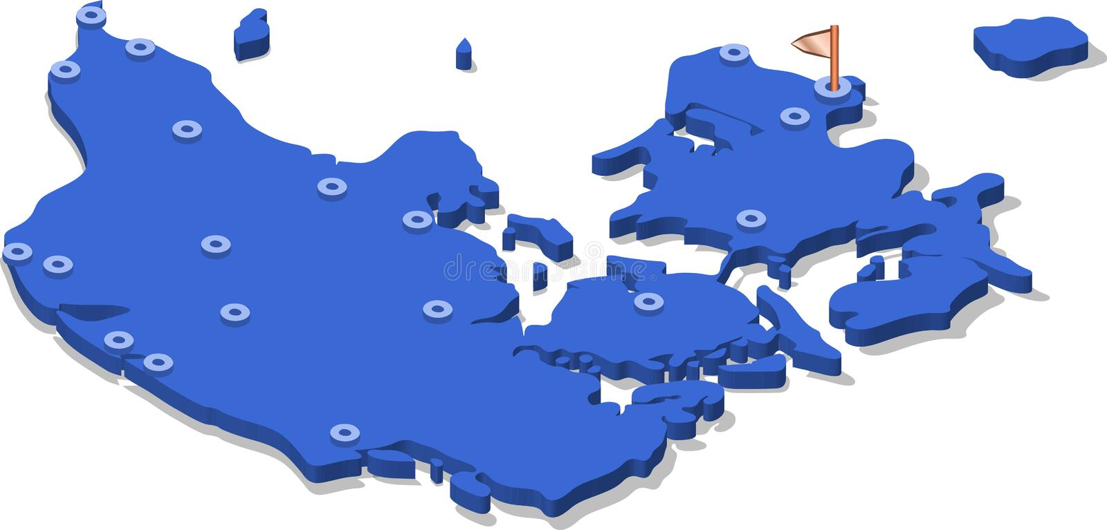3d isometric view map of Denmark with blue surface and cities. Isolated, white background stock illustration