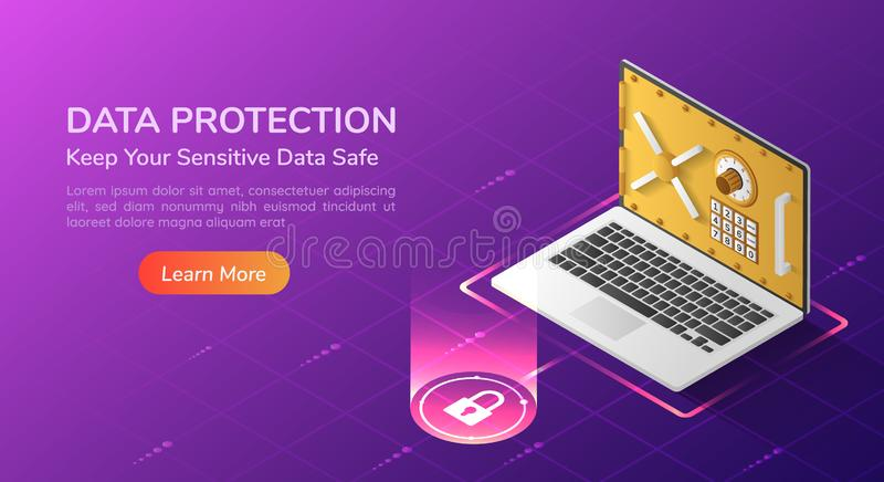 Isometric web banner laptop with security vault door on the screen. 3d isometric web banner laptop with full option security system and vault door on the screen royalty free illustration