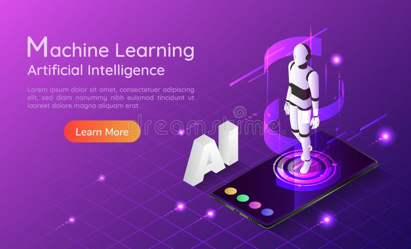 Isometric web banner personal assistant AI robot on smartphone stock illustration