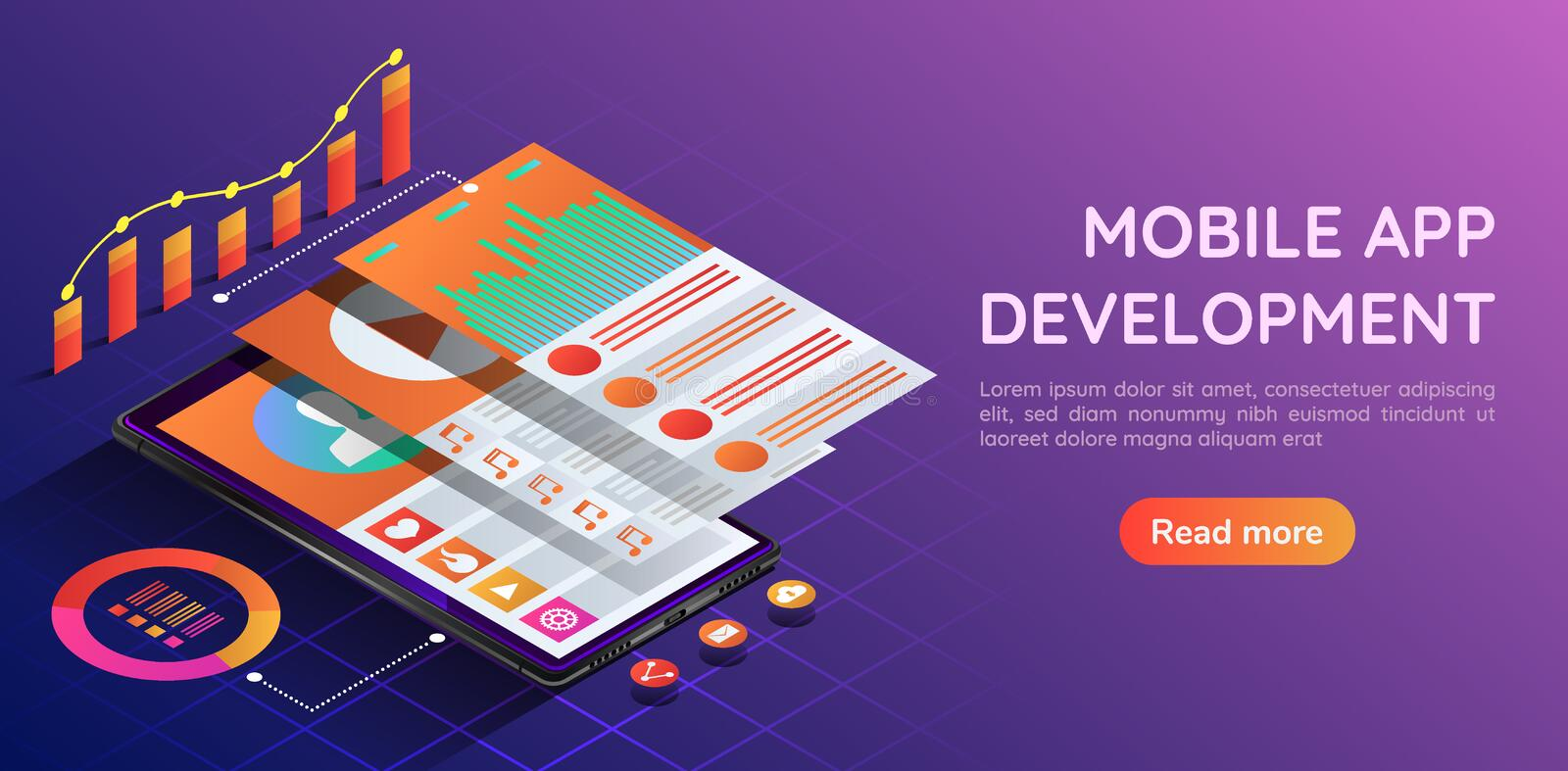 Isometric smartphone with mobile application user interface layer. 3d isometric web banner smartphone with mobile application user interface and navigation layer vector illustration