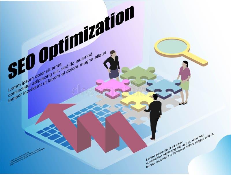 3d isometric for web design. Desktop computer monitor. Vector 3d isometric illustration. Business idea concept. Office stock illustration