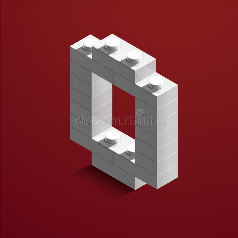 3d isometric white number Zero from lego brick on red background. 3d number from lego bricks. Realistic number. 3d isometric white number from lego brick on red vector illustration