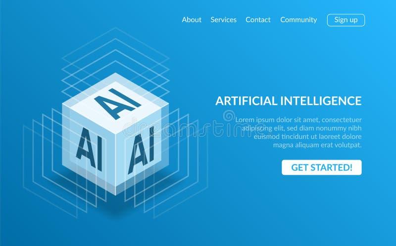 3D isometric widok kubiczny kształta AI procesoru układ scalony z jarzyć się błękit dla Sztucznej inteligencji lądowania strony p ilustracja wektor
