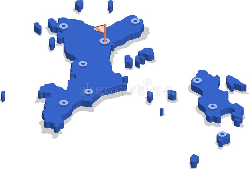 3d isometric widoku mapa Seychelles z błękitów miastami i powierzchnią ilustracji