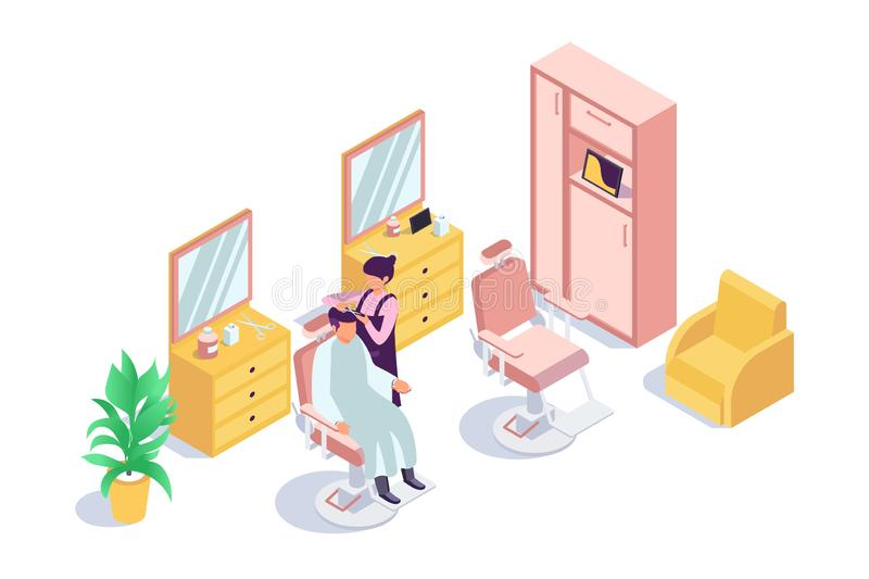 3d isometric zakład fryzjerski z klienta mężczyzną i fryzjer kobietą royalty ilustracja