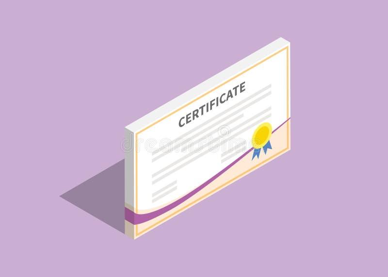 3d isometrisch certificaat vlak met violette achtergrond stock illustratie